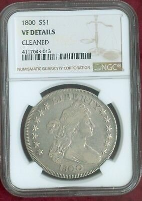 NGC VF Details-Cleaned 1800 Draped Bust Silver Dollar