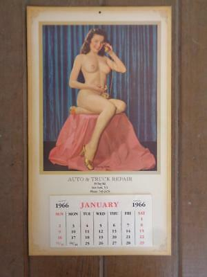 1966 Advertising Calendar Auto Truck Repair Risque Nude Glowing Youth