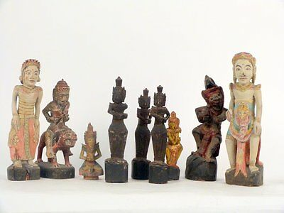 Beautiful Group Of Nine (9) Antique Indonesian Carved Wood Statues Of Deities