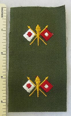 US ARMY 1960s VIETNAM Vintage PATCH Color PAIR of SIGNAL CORPS OFFICER INSIGNIA