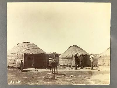 Mongolian Albumen Photograph of Two Yurts with Women and Westerners, c. 1898