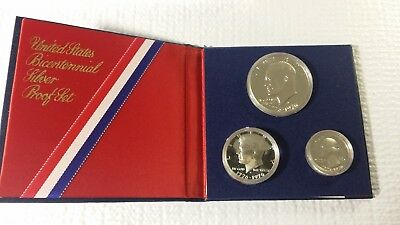1776-1976 United States Bicentennial SILVER PROOF SET 3-Coins w/COA - 40% Silver