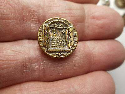 "Castle on Hill Through a Window Antique Brass Building Button 9/16"" RS"