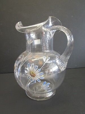 Antique Hand Blown Glass Water Pitcher With Enamel Highlights