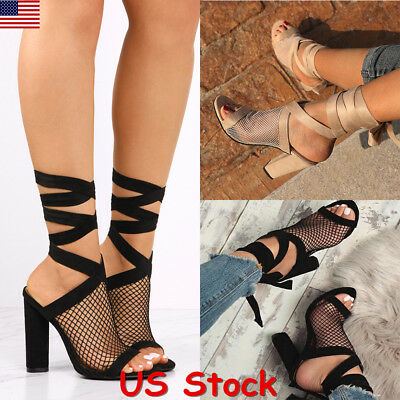 US Women Mesh Peep Toe Block High Heel Sandals Party Lace Up Slingback Shoes New