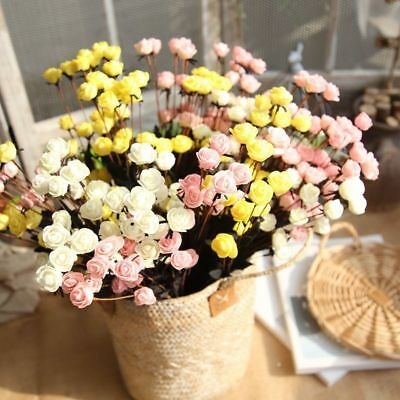 15pcs Artificial PE Mini Roses Small Fake Flowers Wedding Home Party Decor DIY
