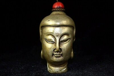 Vintage chinese Collectible Old Tibet Silver buddha Totem wonderful Snuff Bottle