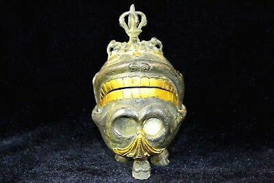 Collectible Handwork Tibet copper skull rare Old chinese jewel Box statue