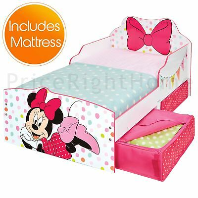 Minnie Mouse Toddler Bed With Storage Junior Girls + Deluxe Foam Mattress