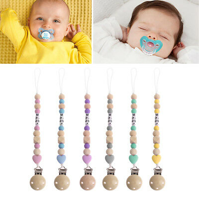 Wooden Nipple Holder For Dummy Feeding Lovely Baby Pacifier Nipple Chain Soother