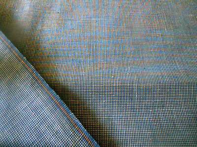 Vintage '50's French Blue Woven Petite Homespun Check Cotton Workwear Fabric ~