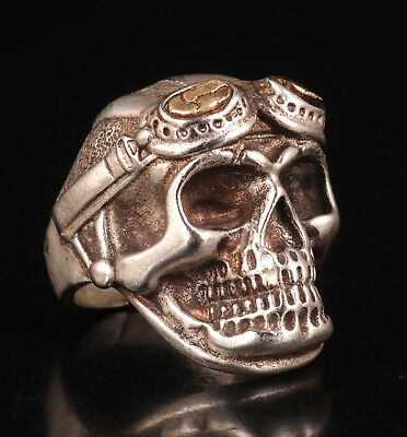 Old Tibet Silver Ring Handicraft Skull Sacred Collection