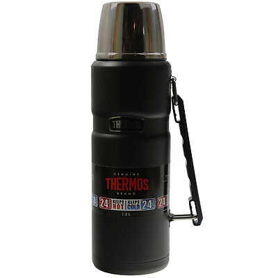 Thermos 1.2 Litre Black Leak Proof Stainless Steel Travel Outdoor King Flask New
