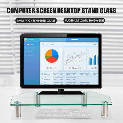 Glass Monitor Stand Laptop Computer TV Screen Holder Riser Height Adjust Clear