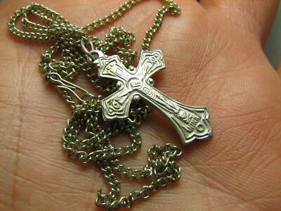 CRUCIFIXION SAVE & PROTECT PRAYER OLD VINTAGE STERLING SILVER CROSS w CHAIN #273