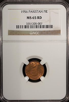Pakistan 1 Pie 1956  NGC MS 65 RD UNC  Bronze  Pure Red