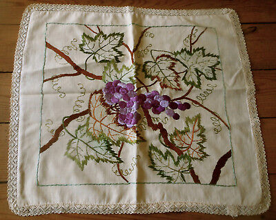 Antique Society Silk Embroidery Pillow Cover with Lace ~ Purple Grapes ~