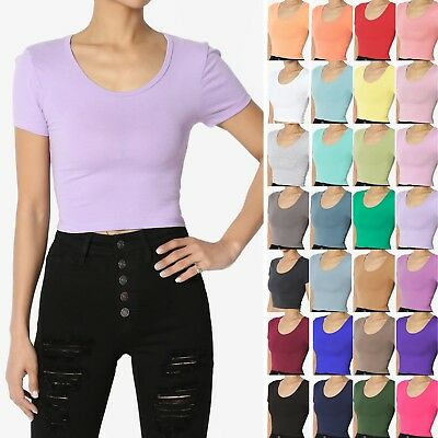 TheMogan Basic Short Sleeve Scoop Neck Crop Top Solid Plain Cropped Tee T-Shirt