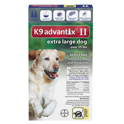 K9 Advantix II Extra Large Dogs (55 lbs and Over, 2 Month Supply) USA VERSION