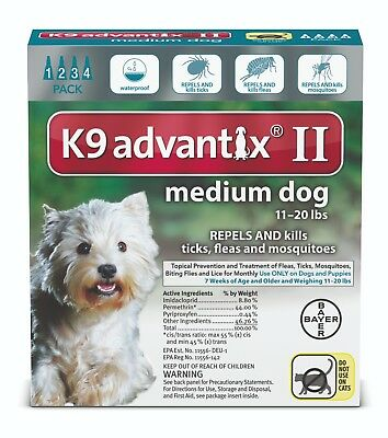 K9 Advantix II for Medium Dogs (11 - 20 lbs, 4 Months Supply) USA VERSION