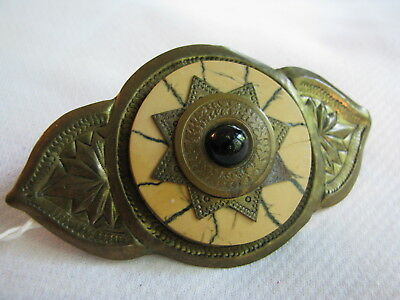 Vintage STAMPED REPOUSSE BRASS French Hair Barrette HIPPIE BOHO INDIA Concho FAN