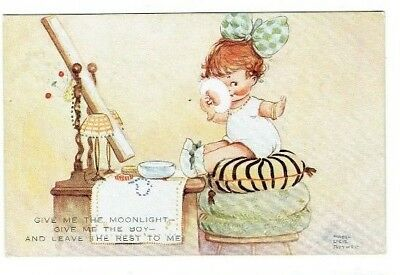 "Mabel Lucie Attwell Postcard ""give Me The Moonlight"" Childrens Artist Used 1928"