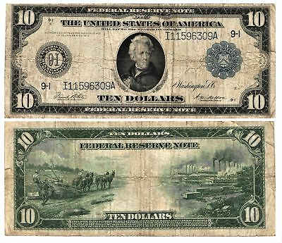 Vtg 1914 $10 Lg Size Currency Note F R N Minneapolis MN 9 I FR#939 Circulated