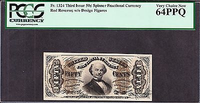 US 50c Fractional Currency Note Red Back FR 1324 PCGS 64 PPQ V Ch CU