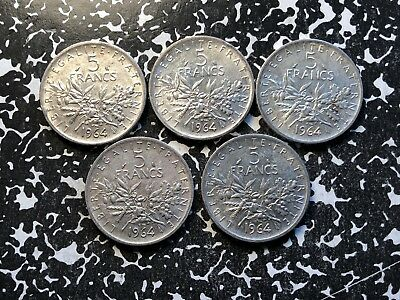 1964 France 5 Francs (5 Available) Circulated (1 Coin Only) Silver!