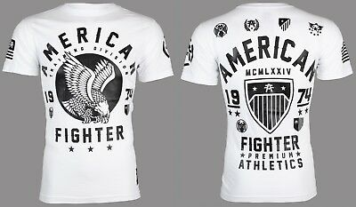 AMERICAN FIGHTER Mens T-Shirt FORT HAYS Eagle WHITE Athletic Biker Gym UFC $40