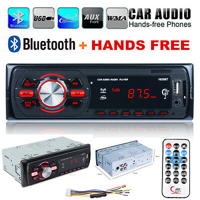 1DIN Car Audio Bluetooth Stereo Radio Head Unit MP3 Player 2-USB SD/FM Handsfree