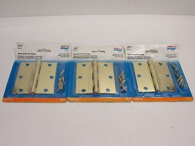 """National Mfg. Co. 3 Door Hinges, Removable Pin, 3-1/2"""" X 3-1/2"""", Bright Brass"""