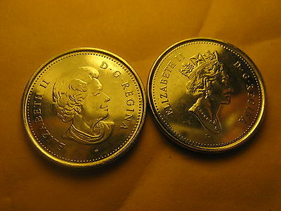 2 Varieties Canada 2003 5 Cent Coins Old & New Effigy Of Queen