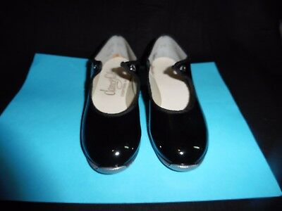 Little Girls DANCE FASHIONS Black Patent Leather Dance Tap Shoes 9 1/2