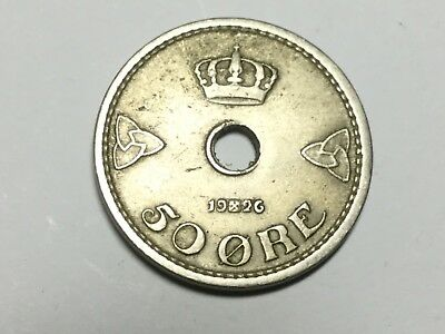 NORWAY 1926 50 Ore coin nice condition