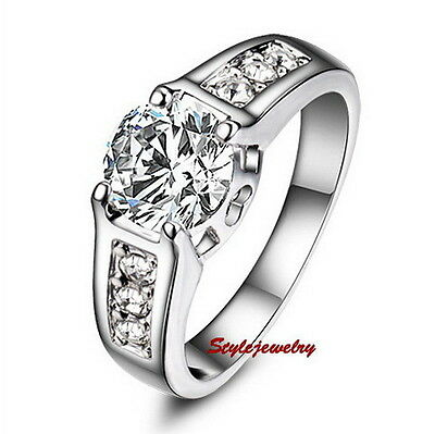 White Gold Plated Silver Engagement Wedding Ring Made With Swarovski Crystal R5