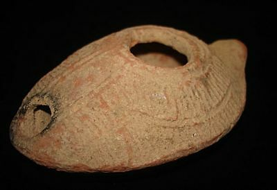 Amazing!  Perfect! Ancient Oil Lamp Intact & Solid ~~ Israel Roman Judean  200Ad