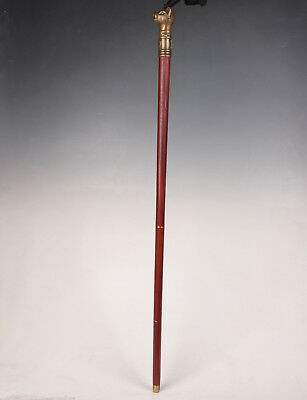 Walking Stick Wood Chinese Zodiac Bronze Casting Pig Statue Old Portable