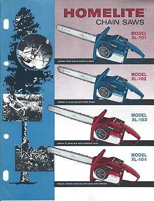 Equipment Brochure Ad Homelite - XL-101 102 103 104 - Chain Saw - c1960's(E4368)