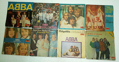 "ABBA SET OF 8 SINGLES INDIA INDIAN prs RECORD 7"" 45 ULTRA RARE ps orig wow EX !"