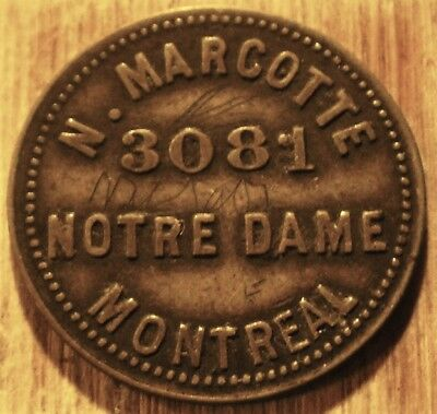 Token CANADA MONTREAL Marcotte 5¢ Leroux-1074h  POSTPAID IN USA
