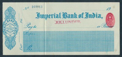 India: 1923 Imperial Bank of India. RARE Unissued Cheque on Jullunder Branch
