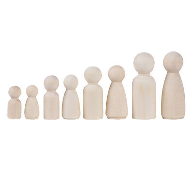 1 Family 12 Wood Peg Dolls Wooden Figures People DIY Craft Kids Birthday Toy