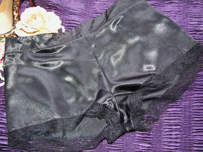 Lovely Silky Shiny Poly Satin & Lace French Knickers Tap Panties  UK 12  [Q42