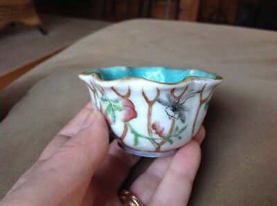 Chinese Tongzhi Period Small Cup Peach Fruit Trees And Insects Motif Antique