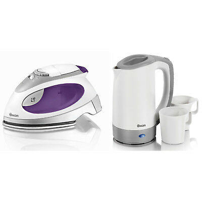 Swan Dual Voltage Steam Travel Iron And 0.5l Electric Small Jug Kettle Set New