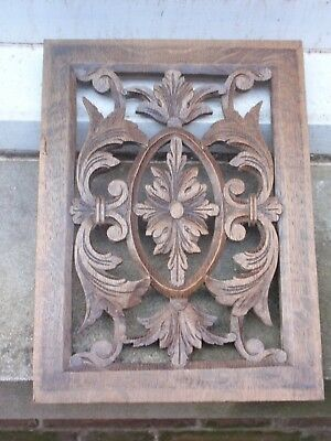 Antique Vintage Carved Fret Work Wood Decorative Hanging Panel