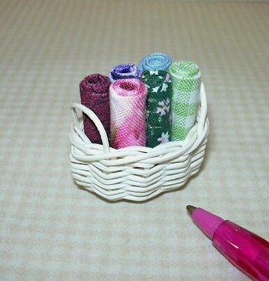 Miniature Taylor Jade Basket of Fabric Samples #3: DOLLHOUSE 1/12 Scale