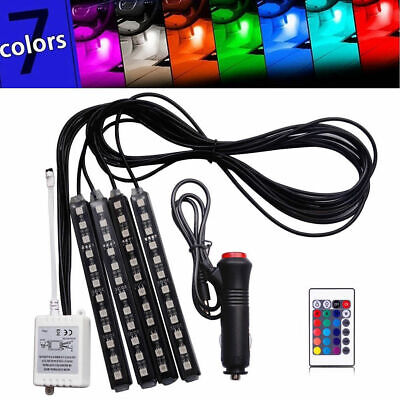 4x RGB 12LED Car Interior Atmosphere Neon Light Strip Wireless Remote Control