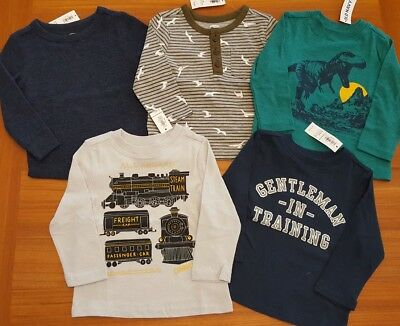Old Navy Boys 12-18 MONTH Long Sleeve Shirts 5 PIECE Clothing Lot TOPS #7-90-18
